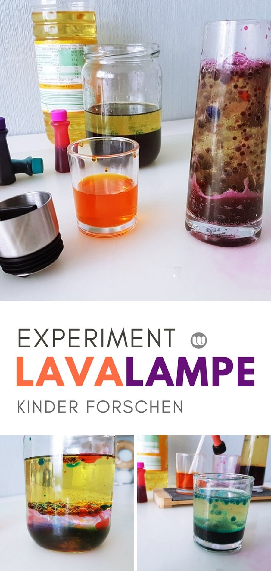 Lavalampe selbstgemacht Anleitung Kinder Experiment