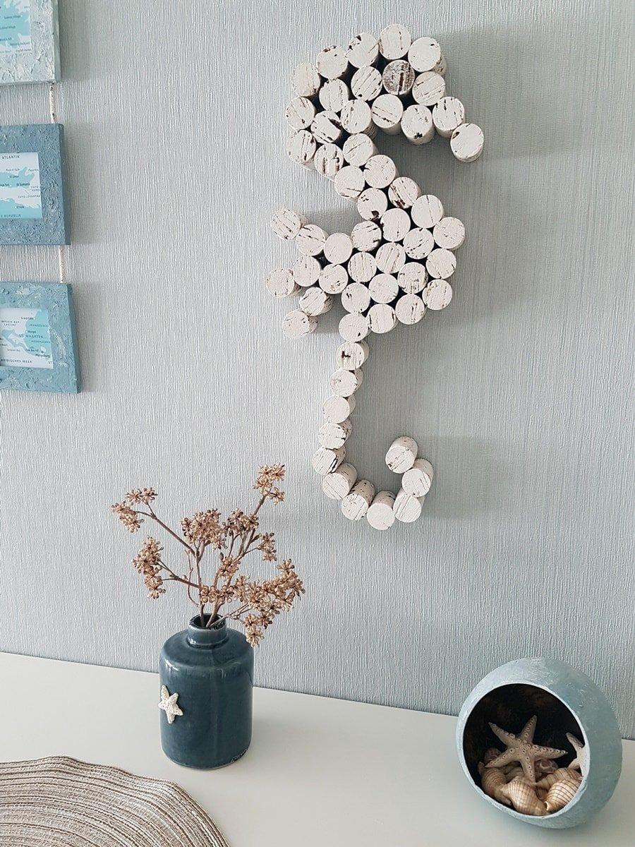 DIY Seepferd Wanddeko aus Korken & selbstgemachte Seesterne aus Kaltporzellan