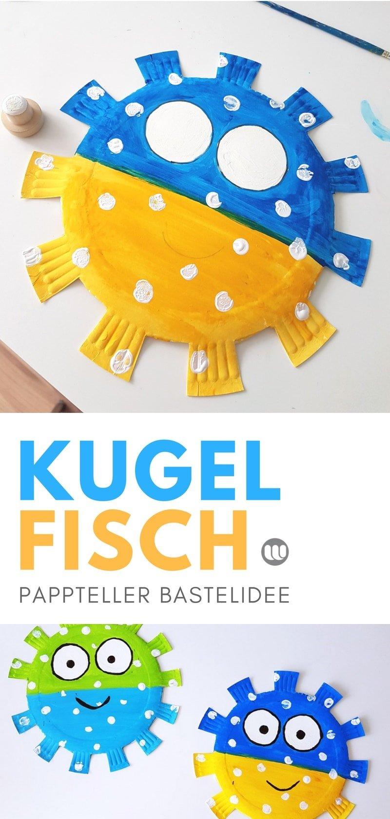 Kugelfisch basteln aus Papptellern