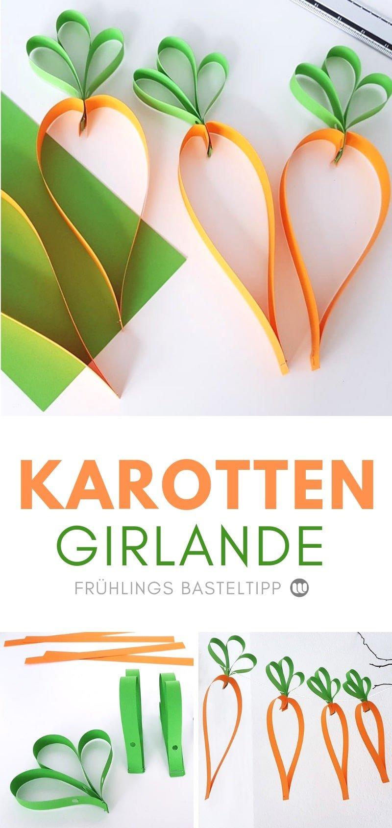 Bastelanleitung für eine Karotten-Girlande aus Papier
