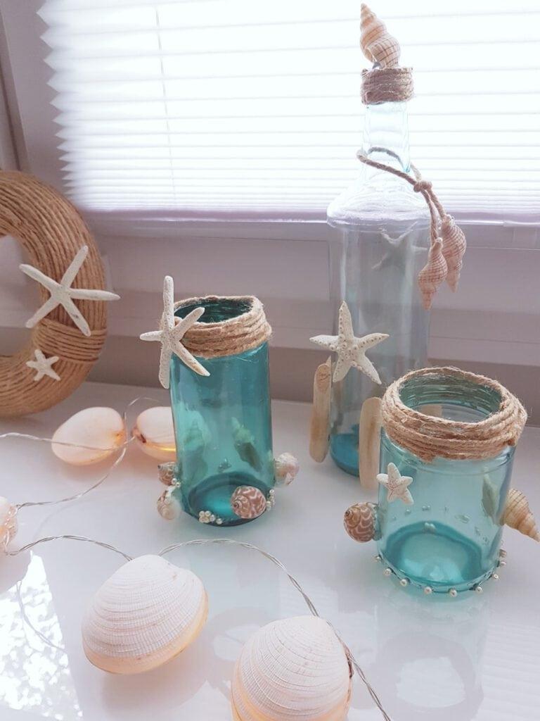 Stranddeko Flaschen Glas färben (3)