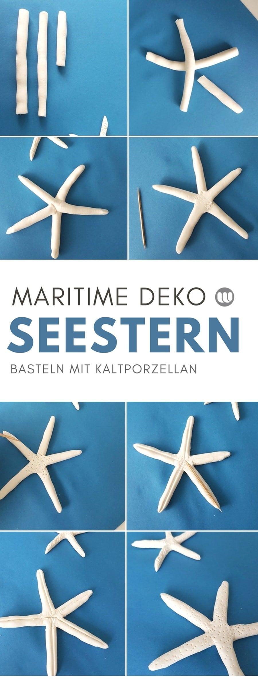 Maritime Seesterne Deko basteln Fimo Salzteig