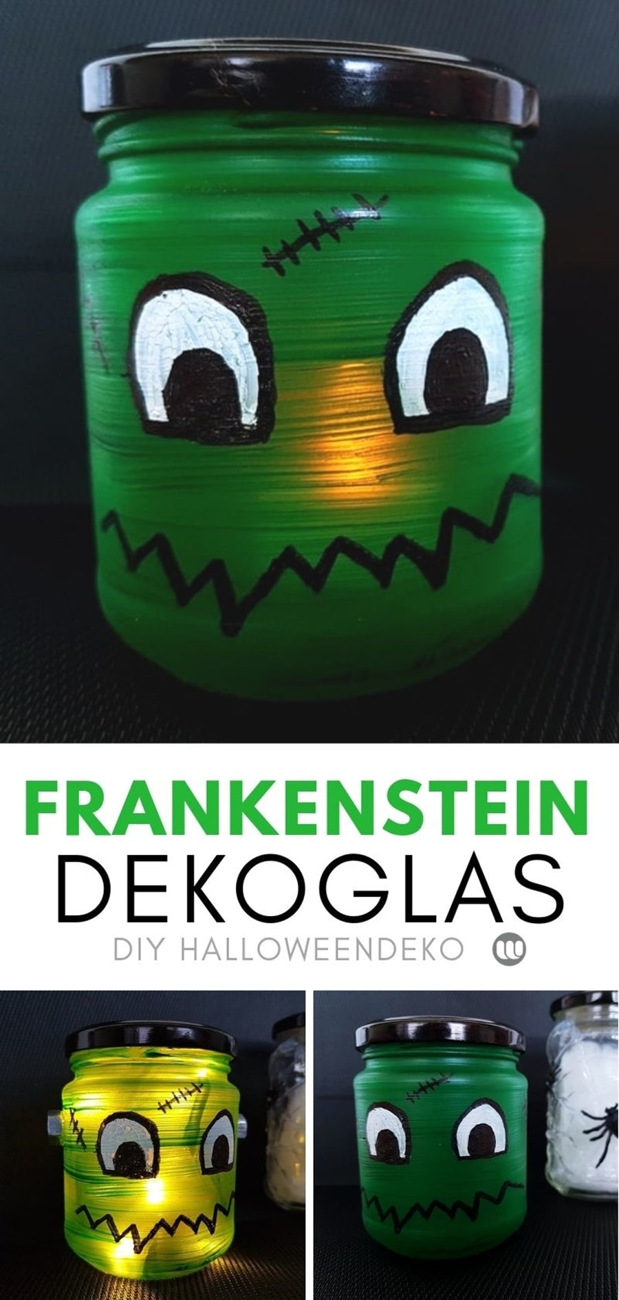 Frankenstein Monster Windlicht basteln Halloween