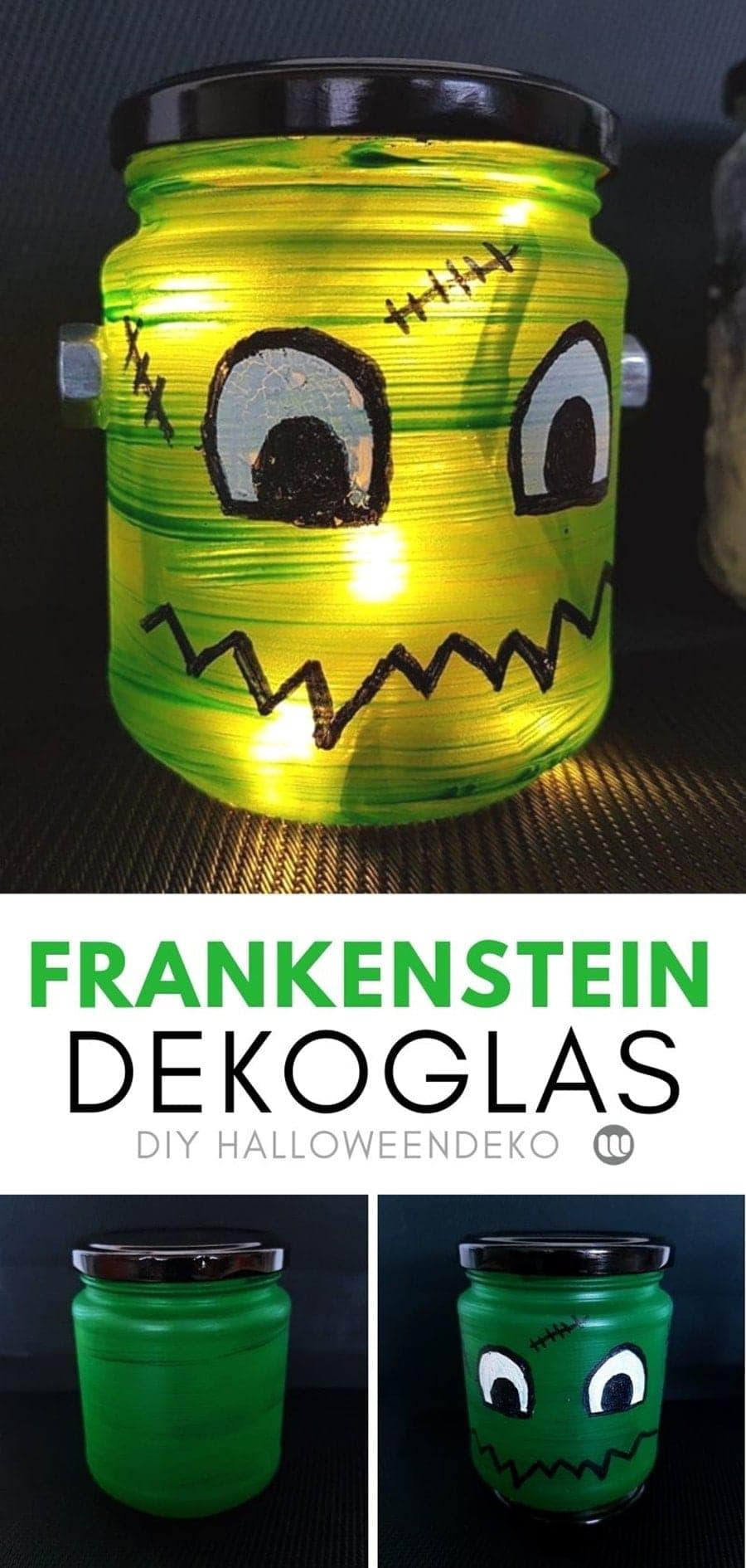 DasFrankensteins MonsterWindlicht: Niedliche Kinder Halloweendeko, garantiert nicht beängstigend. ✂️ Frankenstein Dekoglas Bastelanleitung