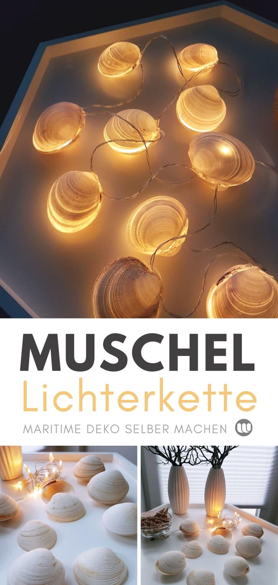 Muschel-Lichterkette Muschel Deko Basteln idee