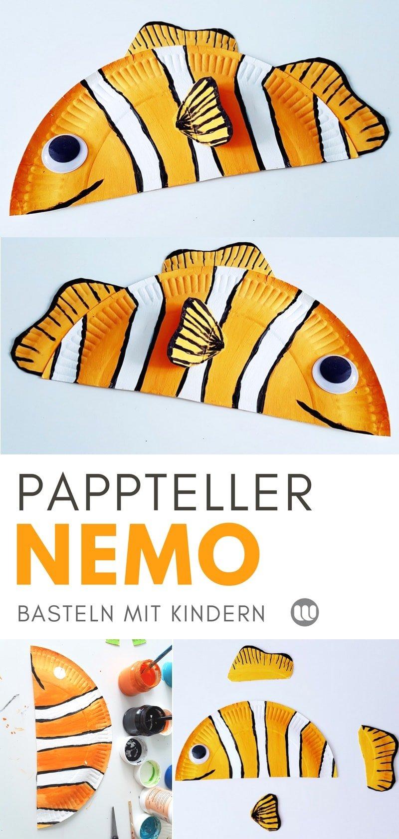 Clownfisch Nemo aus Papptellern basteln: Einfache Sommerdeko Bastelanleitung für Kinder