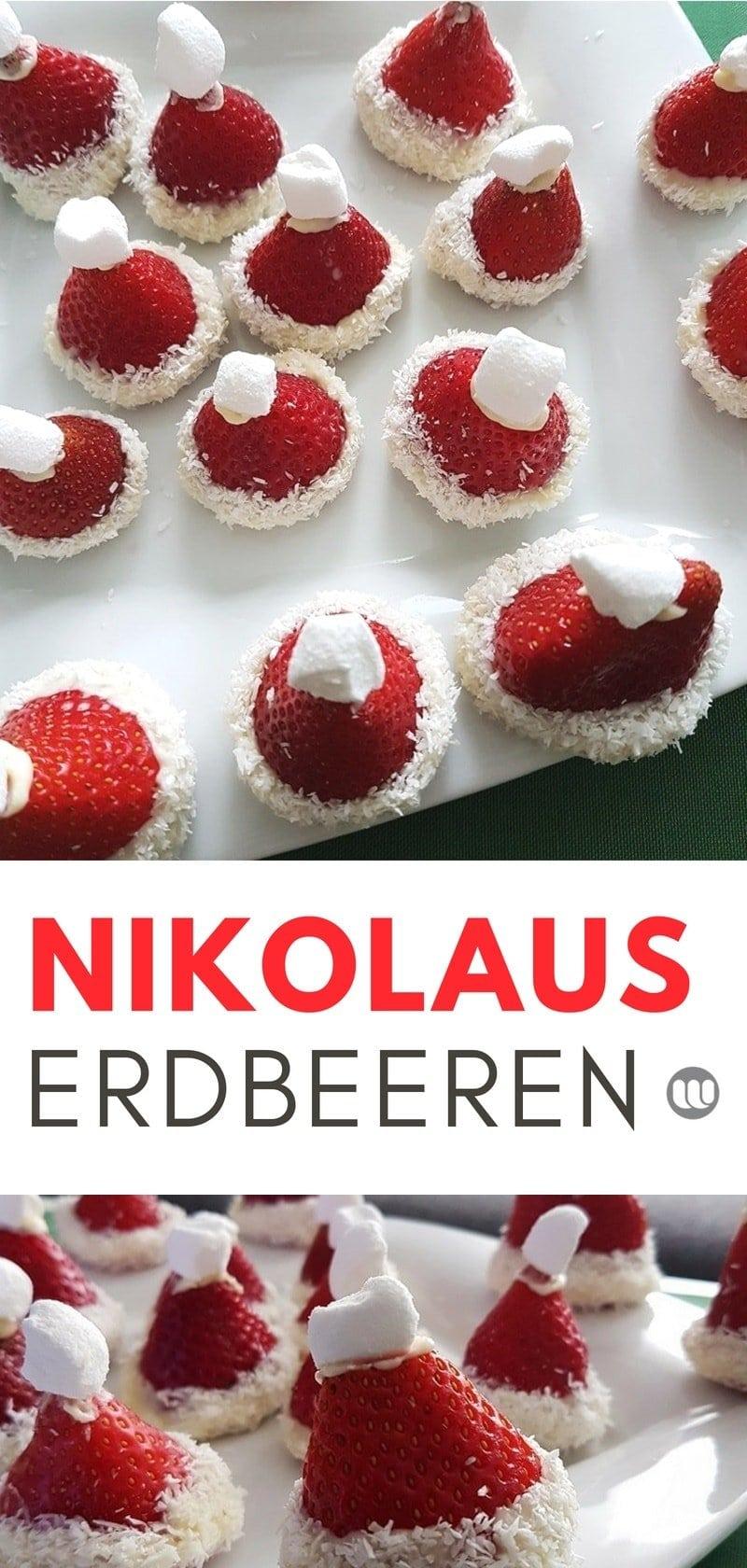 Rezept: Erdbeer Weihnachtsmann Mützen: Originelles Dessert Rezept zum Weihnachtsfest #Erdbeeren #Nikolaus #Weihnachten #Rezept #Dessert