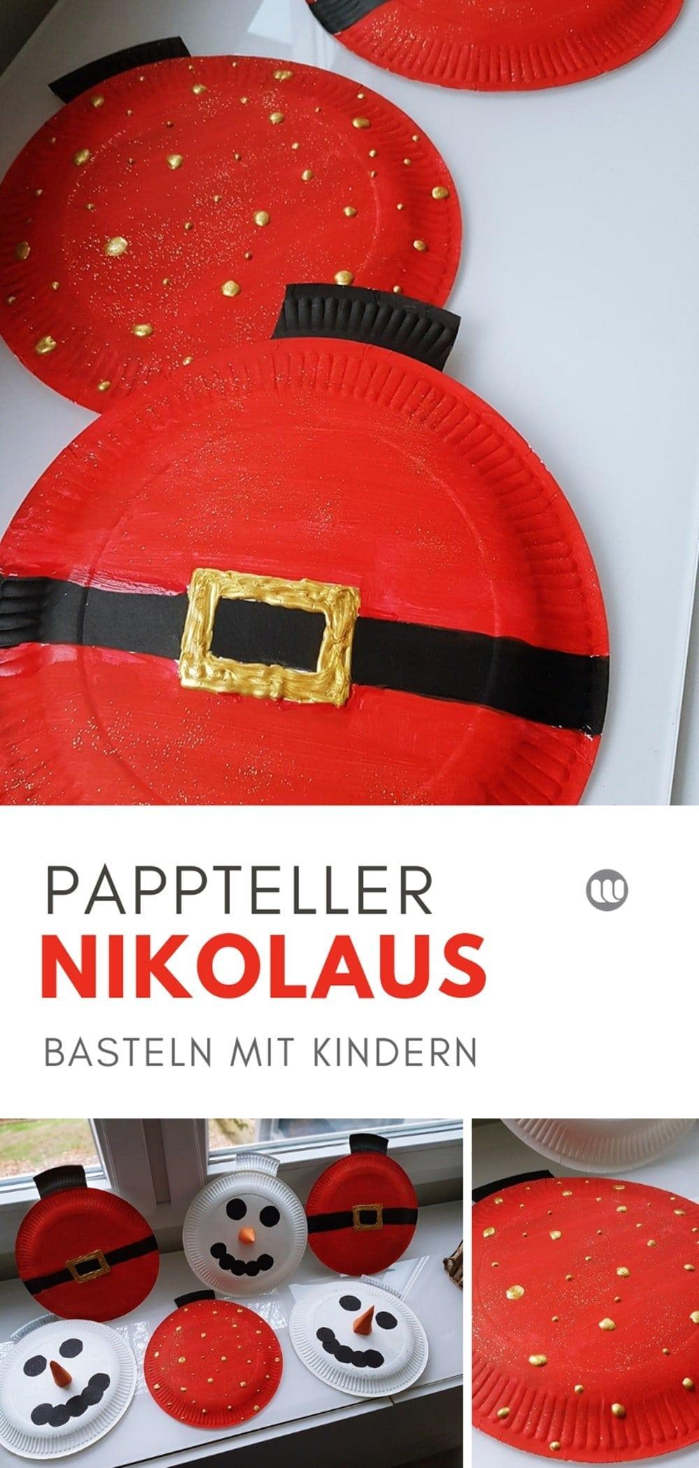 Weihnachtskugel Pappteller Girlande Nikolaus Weihnachtsmann basteln