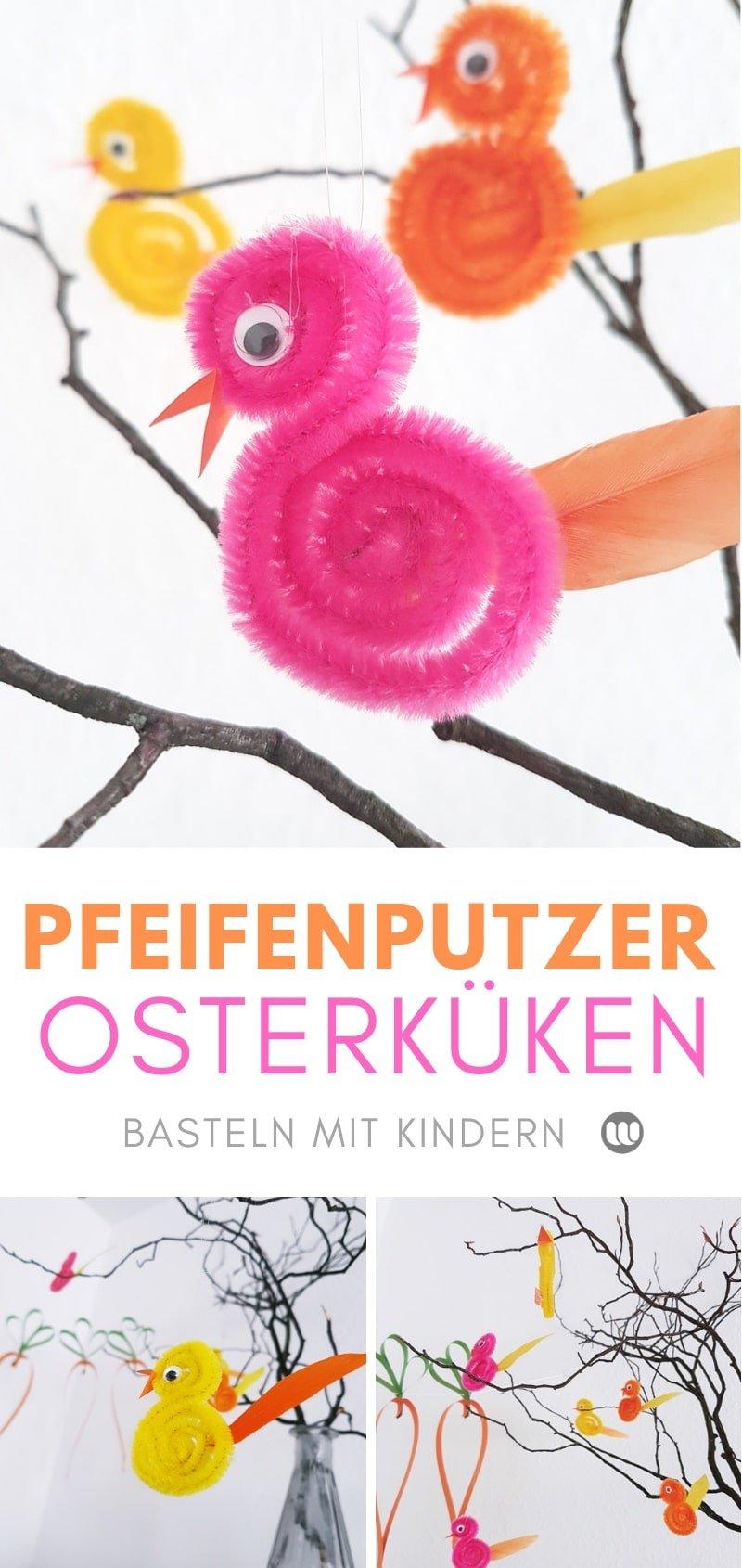 DIY Osterstrauch Deko Küken