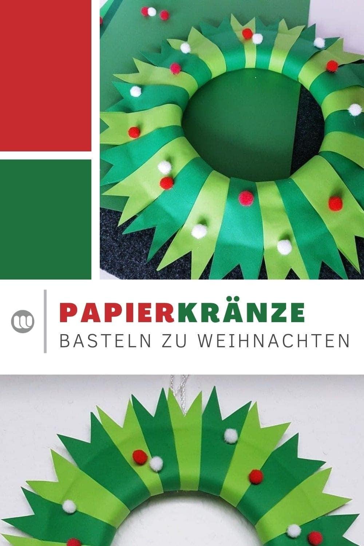 Weihnachten, Weihnachtsdeko, Dekoration, basteln, Kinder, selbermachen, Türkranz, Papier