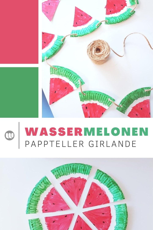 Basteln aus Papptellern mit Kindern Kleinkindern Kindergarten im Sommer, Girlande Wassermelone