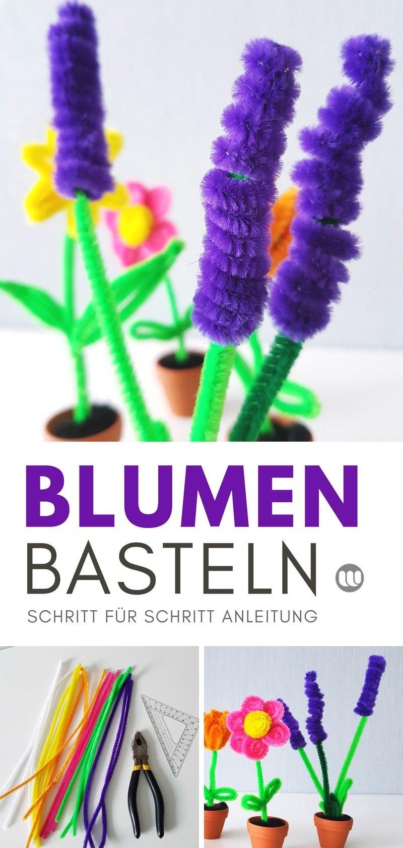 Pfeifenputzer Blumen basteln: Tulpen, Lavendel und Osterglocken