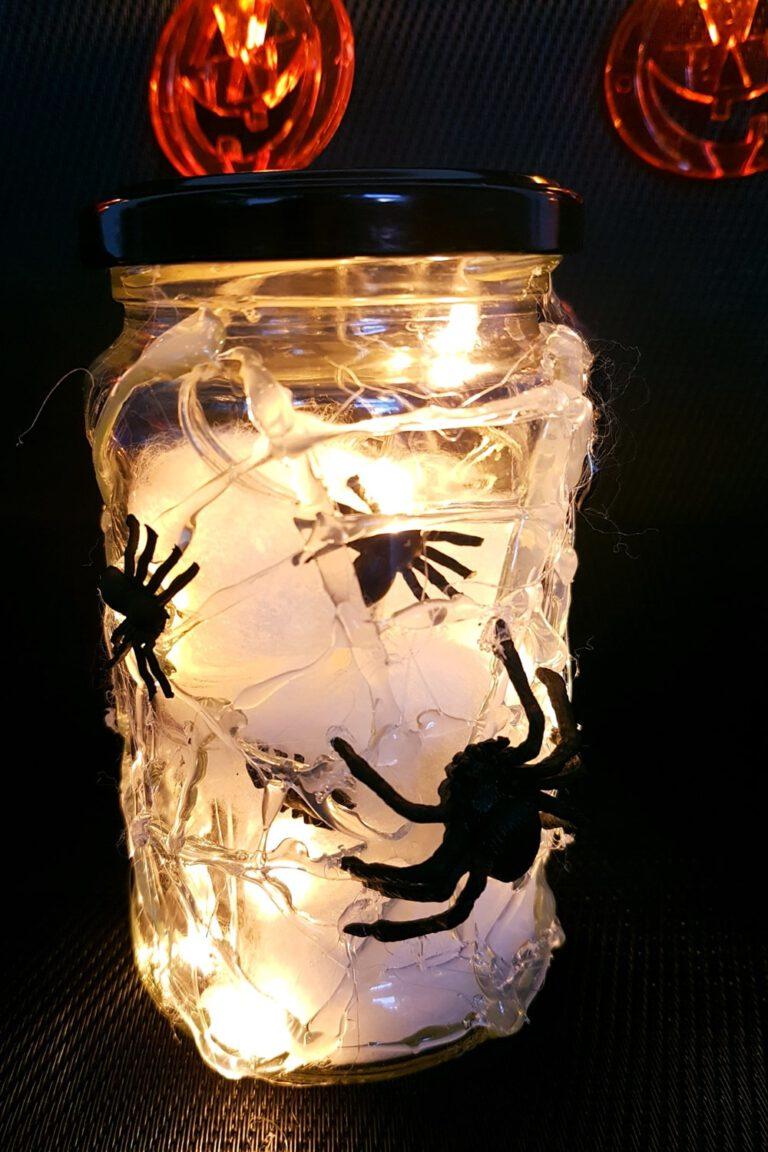 Halloween Deko Spinnen im Glas