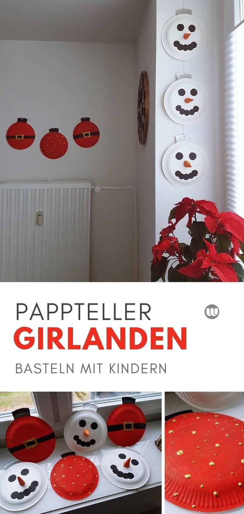 Pappteller Girlande Weihnachten: Kinder Bastelidee