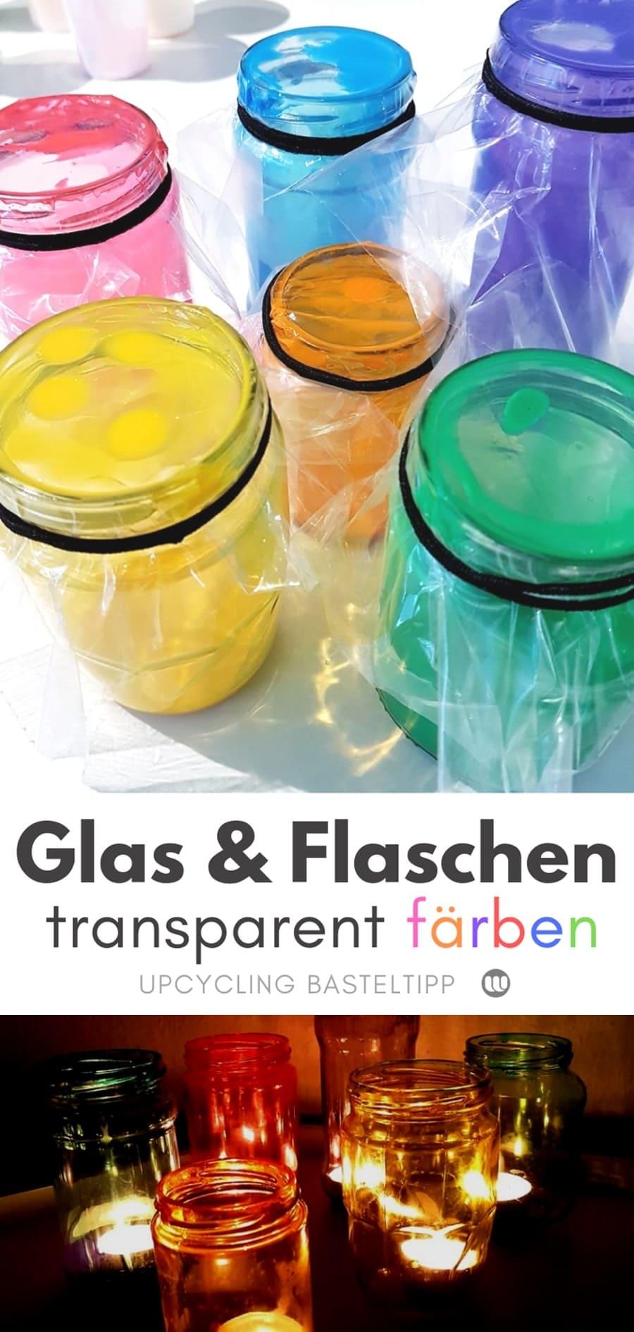 Glas & Flaschen transparent färben mit Lebensmittelfarbe: Upcycling Bastelanleitung zum Gläser färben