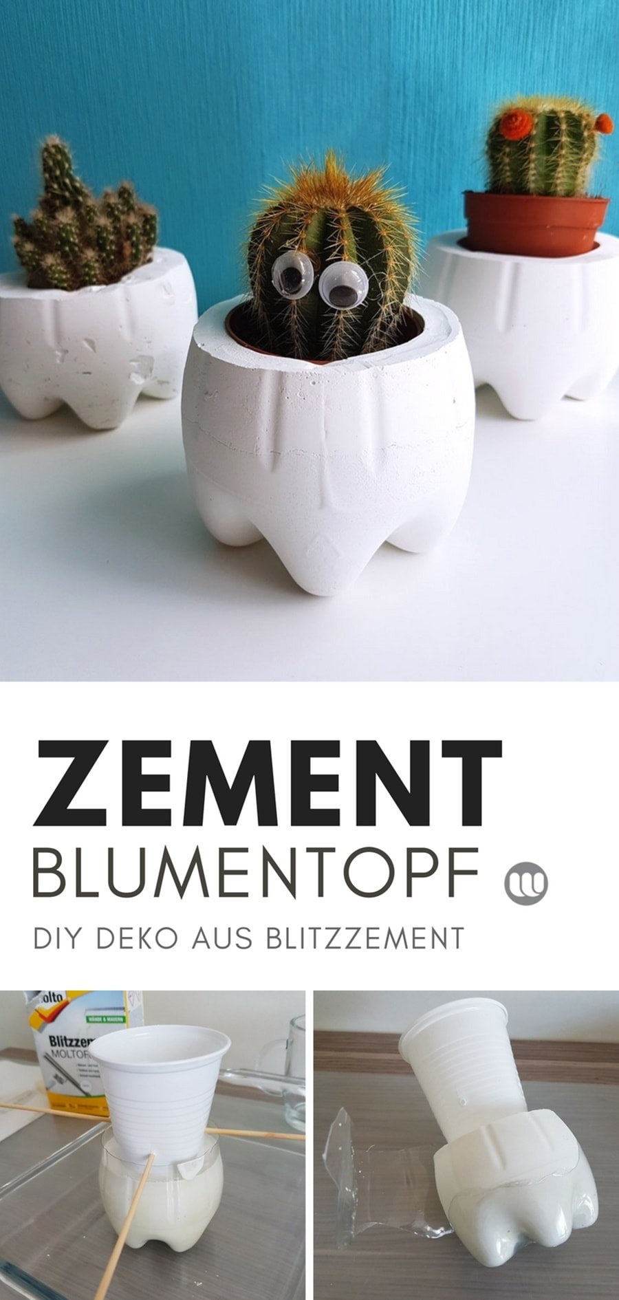 Basteln mitBlitzzement: Deko Idee & Anleitungen für niedliche Beton Blumentöpfe und Teelichthalter aus weißem MOLTOBlitzzementselber machen.