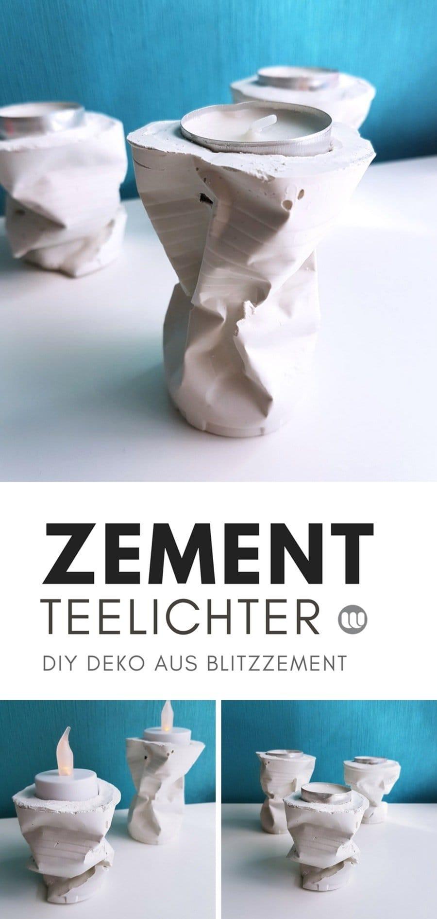 Basteln mitBlitzzement: Deko Idee & Anleitungen für niedliche Beton Blumentöpfe und Teelichthalter aus weißemBlitzzementselber machen.