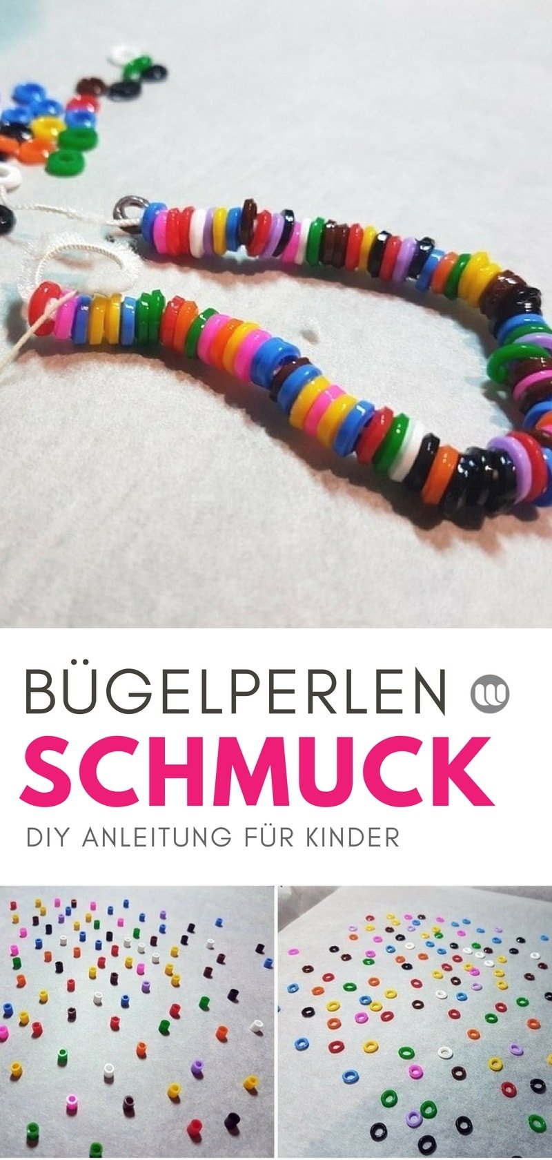 Bügelperlen Armband basteln - Einfache DIY Bastel-Anleitung für Kinder zum selber machen | Kinderschmuck aus Bügelperlen selbermachen | Basteln mit Kindern