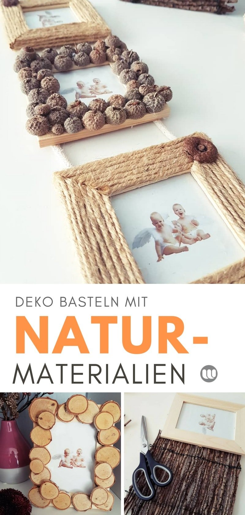 Basteln mit Naturmaterialien: DIY Bilderrahmen mit Holzscheiben