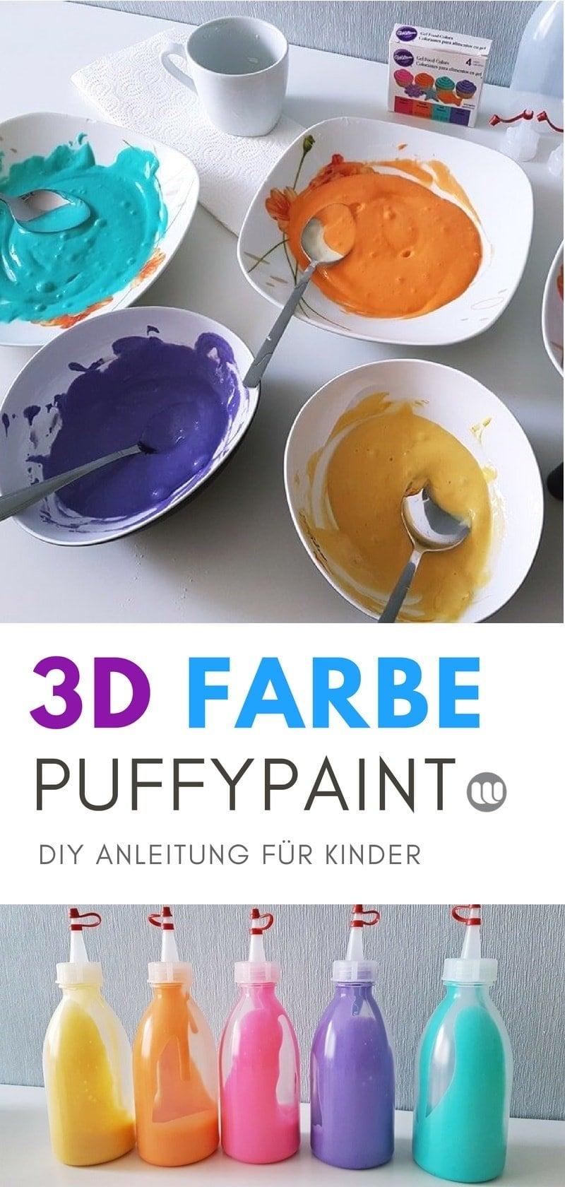 Farben für Kinder selbstgemacht: Rezept für 3D Pluster Farbe