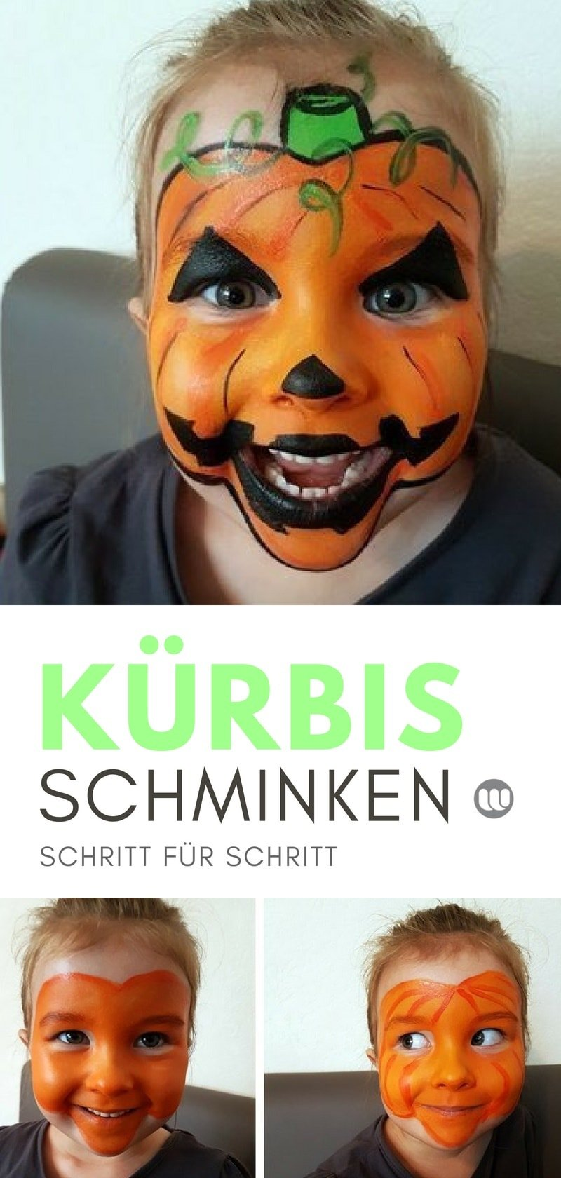 Schminkkanleitung zum Kürbis Schminken bei Kindern #Halloween #schminken #Kürbis