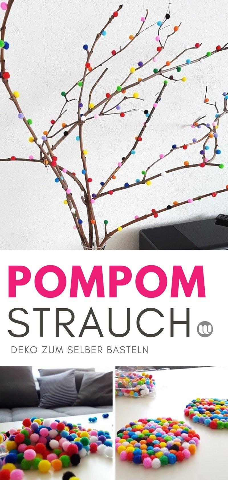 DIY Frühlingsdeko: pompom Strauch Deko Zweige selber basteln