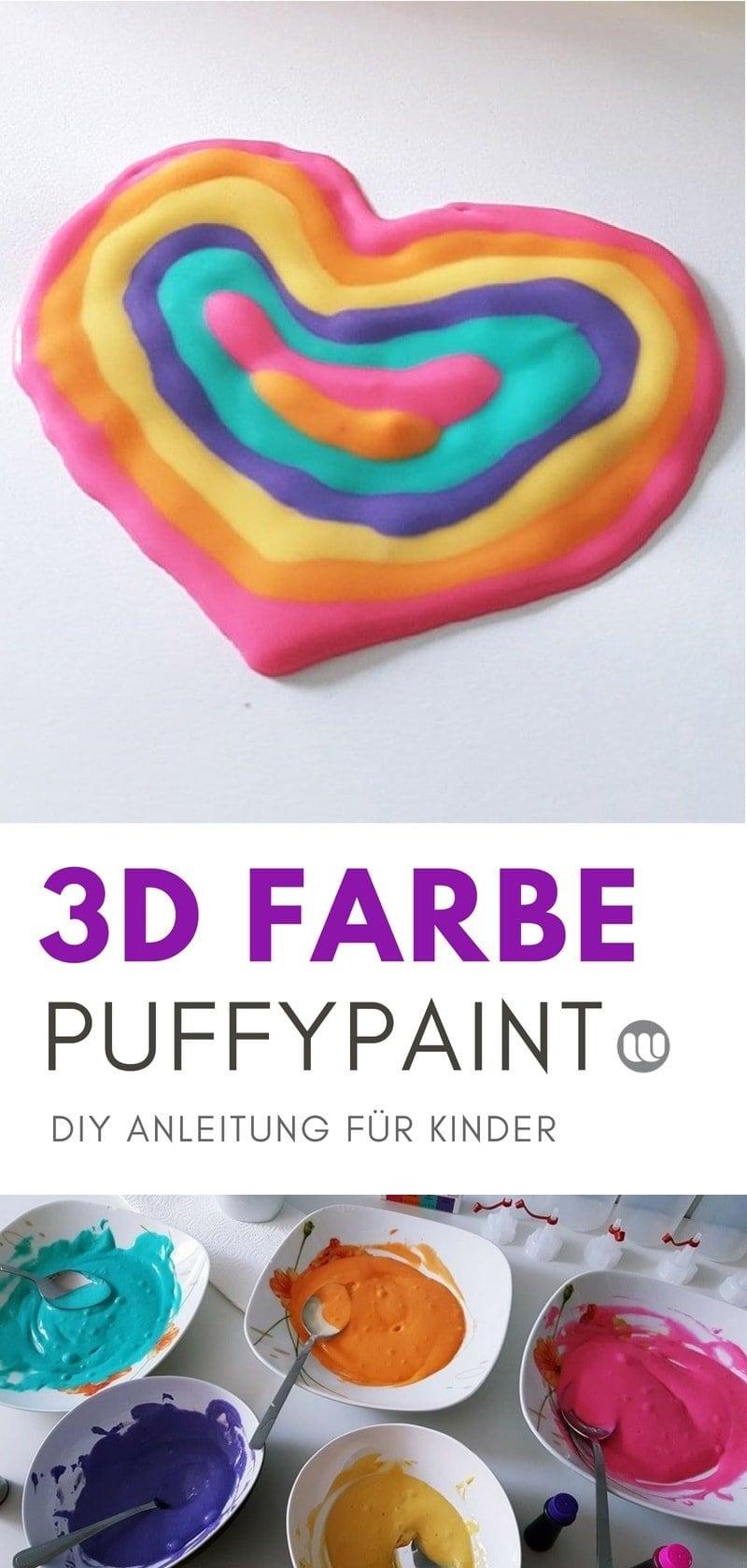 Plusterfarbe selber machen: günstig, schnell, einfach! Puffy Farbe DIY Anleitung für Kinder. Nach 30 Sekunden Trocknen hältst du dein 3D Bild in den Händen.