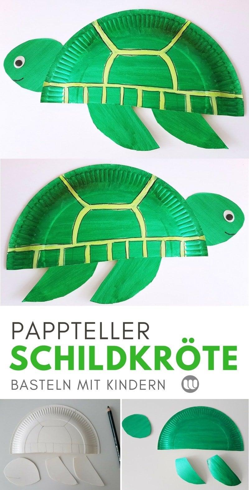 Schildkröte basteln aus Papptellern