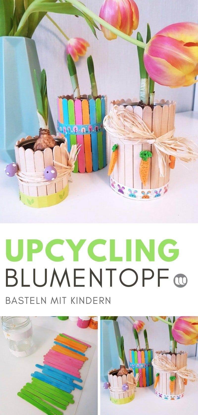 Blumentopf Upcycling: Bastelidee für Kinder mit Eisstielen #Frühling #basteln #Blumen